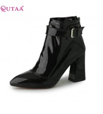 Pointed Toe PU Patent Leather Women Shoes