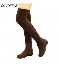 Knitted Women Knee High Boots Elastic Slim