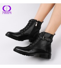 European Style Black Ankle Boots Flats Round Toe