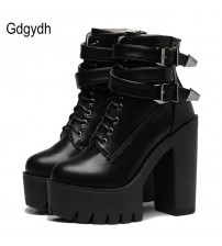 High Heels Platform Buckle Lace Up Leather Short Booties