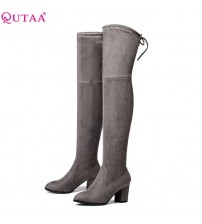 Ladies Shoes Square High Heel Boots