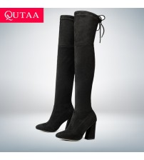 Flock Leather Women Over The Knee Boots