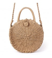 Round Vintage Retro Straw Rope Knitted Messenger Bag