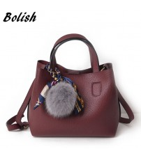 Bolish Litchi Pattern Soft PU Leather Women Handbag