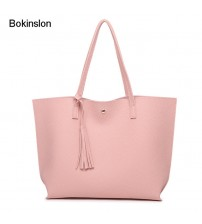Bokinslon Tassel Handbags Woman PU Leather