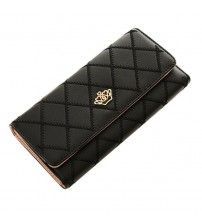 Metal Crown Lady Long Clutch Wallet