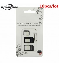 10pcs Nano SIM Card Adapter 4 in 1 Micro Sim Adapter