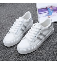 Striped PU Leather Classic Sneakers