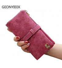 Drawstring Leather Zipper Long Wallet