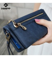 Double Zipper Day Clutch Purse