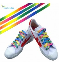 Rainbow Flat Canvas Athletic Shoelace