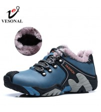 Genuine Leather Winter Warm Fur Male Shoes