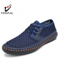 Genuine Leather Summer Breathable Soft Male Mesh Shoes