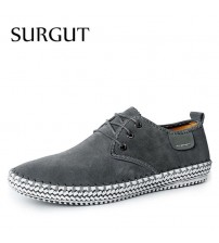 100% Genuine Suede Leather Men's Leisure Flat