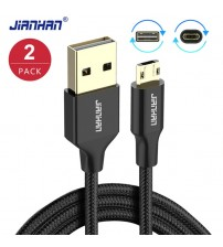 2 Pack JianHan Reversible Micro USB Cable Fast Charger