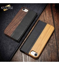 Bamboo Leather Flip Case For iPhone X 6 6S