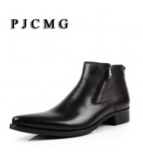 Genuine Soft Leather Boots Pointed Toe