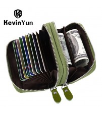 Double Zipper Card Case Wallet Large Capacity