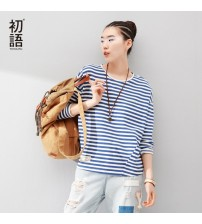Batwing Long Sleeve Striped Tees Tops