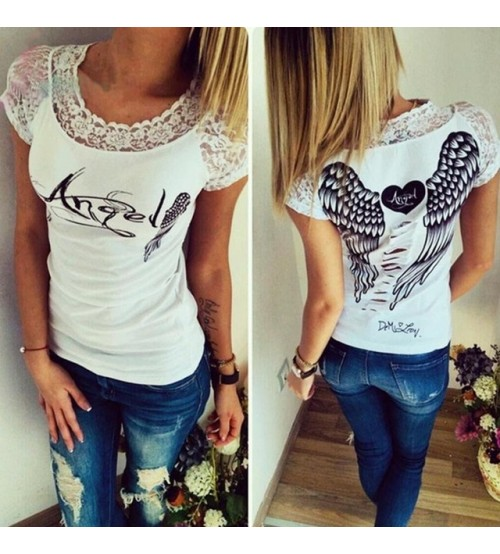 Short Sleeve O-neck Shirt Hollow Back