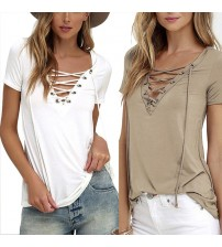 Lace Up T Shirt Sexy V Neck Hollow Out Top
