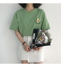 Cute Avocado Embroidery Short Sleeve T-shirt
