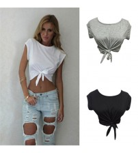 Knotted Tie Front Crop Tops Cropped T Shirt