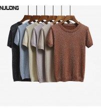 Knitted T Shirt Top Tees Short Sleeve