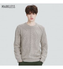 Markless Knitted Sweater O-neck Men Pullovers
