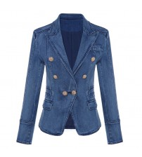 Metal Lion Buttons Double Breasted Denim Blazer