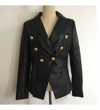 Double Breasted Synthetic Leather Blazer