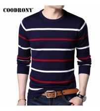 COODRONY O-Neck Pullover Cashmere Wool Sweater Men