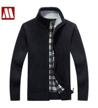 Fleece Sweater Casual Style Stand Collar Cotton Material Thin Wool