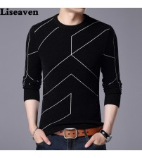 Cashmere Wool Pullover Men Casual Striped Sweater