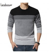 Casual Sweater O-Neck Striped Slim Fit Knitting Mens Sweaters