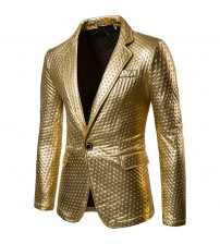 Dot Embossing Casual Leather Blazer