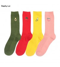 Cute Pattern Cotton Loose Crew Socks