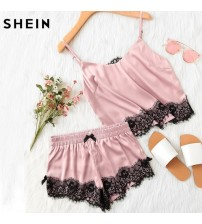 Pink Spaghetti Strap Lace Cami Top and Shorts
