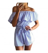 Ruffles Slash Neck Beach Playsuits Striped