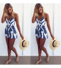Lace Up V Neck Playsuit Clothes