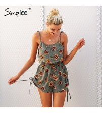 Floral Print Strap Ruffles Rompers