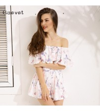 Sexy Off Shoulder Floral Print Romper
