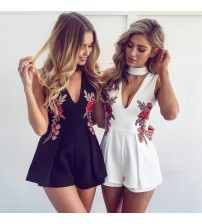 Embroidery V Neck Off Shoulder Playsuit