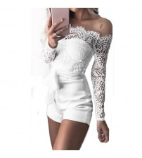 Long Sleeve Sheer Lace Rompers