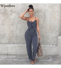 Bow Strap Striped Jumpsuit Wide Legs