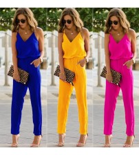 Sexy Strap V Neck Slim Jumpsuit