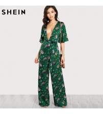 Sexy Jumpsuits Bell Sleeve Plunge