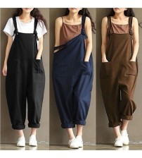 Loose Linen Pants Cotton Jumpsuit