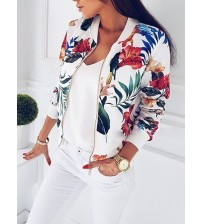 Women Coat Floral Zipper Up Bomber Jacket