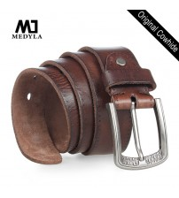Genuine Leather Alloy Pin Buckle Belt